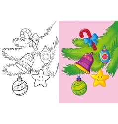 Coloring Book Of Christmas Decoration vector
