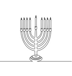 continuous one line hanukkah candle vector image