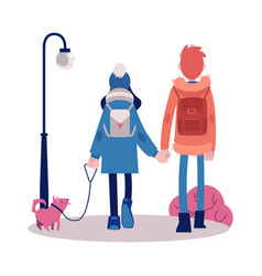 couple walking outdoors at autumn with dog vector image
