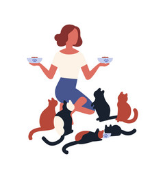 Crazy cat lady feeding her pets young woman vector