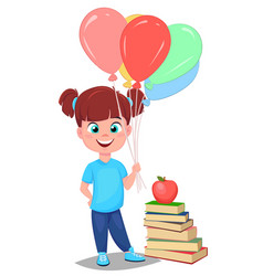 Cute girl in casual clothes with helium balloons vector