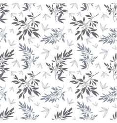 Dark grey white tropical leaves summer vector