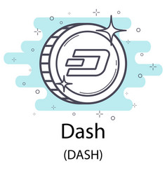 Dash outline coin vector