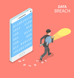 Data breach flat isometric concept vector
