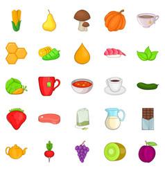 Dietetic icons set cartoon style vector