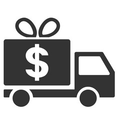 Dollar gift delivery flat icon vector