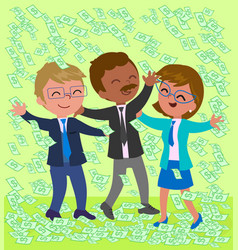 exulting business people with money vector image