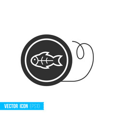 Fishing line reel icon in silhouette flat style vector