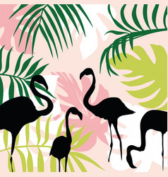 flat composition leaves and flamingo vector image