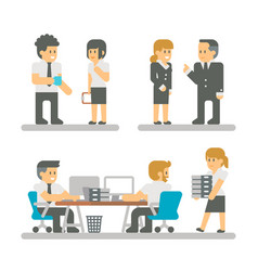 Flat design cartoon meeting business people vector