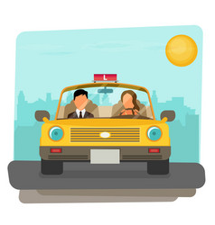 flat design concept of driving school with car vector image