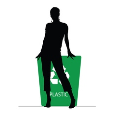 Girl on recycle plastic trash can vector