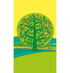 Green bird on the tree vector