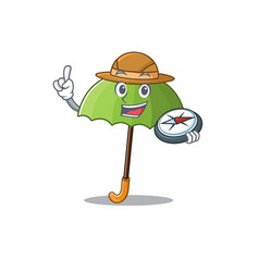 Green umbrella an experienced explorer with a vector