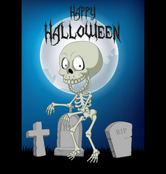 halloween background with skeleton walking in the vector image
