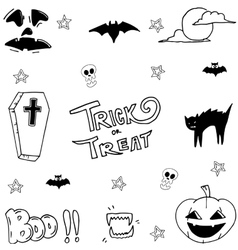 Hand draw halloween set stock vector image