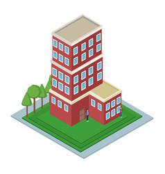 isolmetric school building vector image