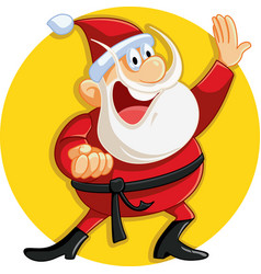 karate santa claus ready for christmas vector image