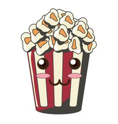 kawaii pop corn bucket icon vector image