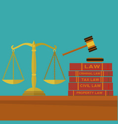law and justice with gavel scales and law books vector image