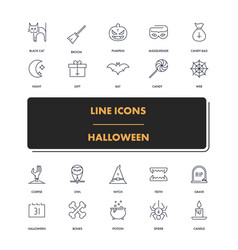 line icons set halloween 1 vector image