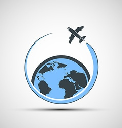 Logo airplane fly around the earth vector