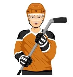 male ice hockey player with an ice hockey stick vector image
