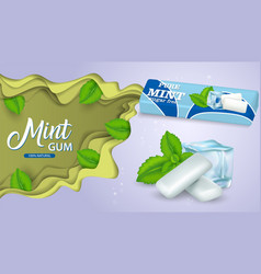 mint chewing gum paper cut poster template vector image