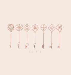 modern graphic key collection beige vector image