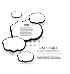 Modern halftone cloud icons background vector