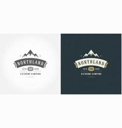 Mountain camping logo emblem outdoor landscape vector