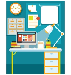 Office Room with Desk and Office Supplies vector