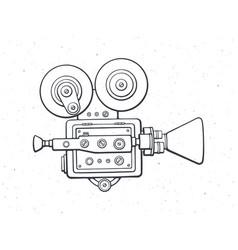 Outline retro cinema camera vector