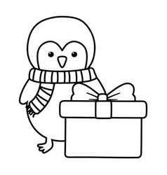 penguin with gift decoration merry christmas line vector image