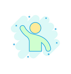 people greeting with hand up icon in comic style vector image
