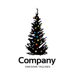 pine tree with stars color decorations vector image