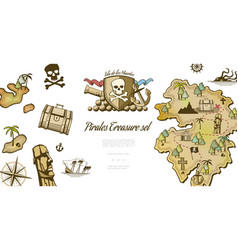pirate elements collection vector image
