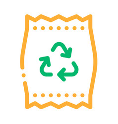 Plastic parcel bag with recycle mark icon vector
