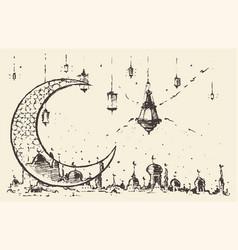 Ramadan celebration engraved drawn vector