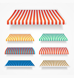 realistic detailed 3d color awnings set vector image