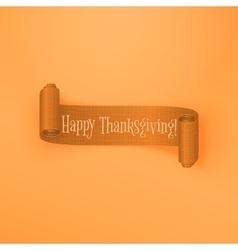 Realistic scroll Thanksgiving orange Ribbon vector