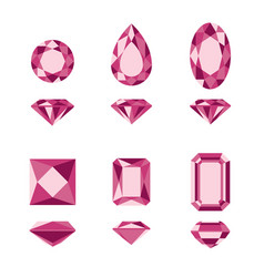 Red gemstones and diamonds shapes vector