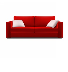 Red sofa with white pillows vector image