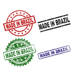 scratched textured made in brazil seal stamps vector image