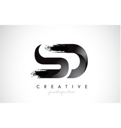 Sd letter design with brush stroke and modern 3d vector