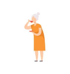 Senior woman drinking tea grandma with cup of tea vector