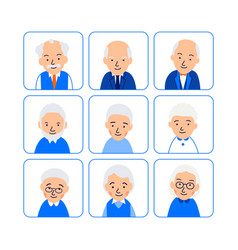 set avatars happy old people icons of heads of vector image
