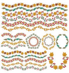 set colorful floral decorations all brushes vector image