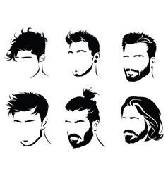 Set hairstyles for men collection black vector
