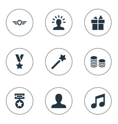 set of simple prize icons vector image vector image